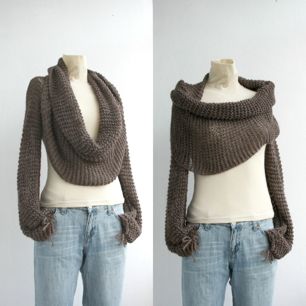 Hand Knit Brown Wrap Bolero Scarf Shawl gift for Her