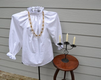 White Victorian Blouse Available in White, Ivory/Cream or Black with Lace