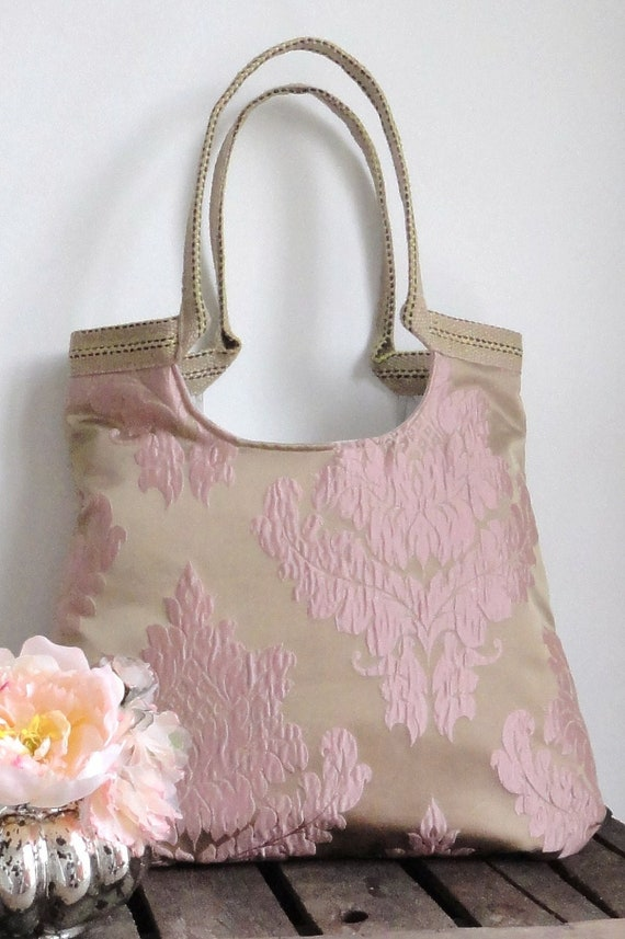 Roma soft pink/brass large tote bag / everyday bag /shoulder bag / handbag