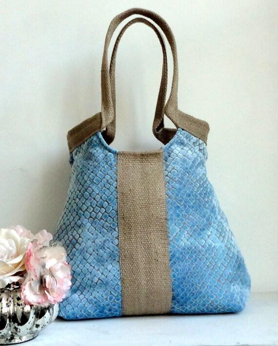 Handbag / purse//Blue chenille large carryall tapestry shoulderbag with burlap