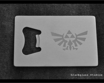 Zelda Etched Stainless Steel Credit Card Bottle Opener by Jackglass on Etsy