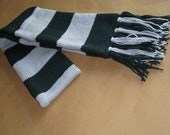 Harry Potter Scarf - Slytherin Style inspired- Knitted Green and Silver Striped- Black Friday- In Stock