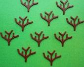 10 vintage plastic tree trunk cabochons, brown - HP0233