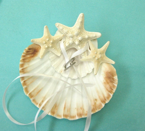 Wedding Ring Bearer Scallop Shells with Starfish