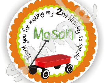 Wagon Theme - 40 Thank You 2 inch circle Stickers - Baptism - Birthday - Baby Shower - Envelope Seal - Address Label - Personalized