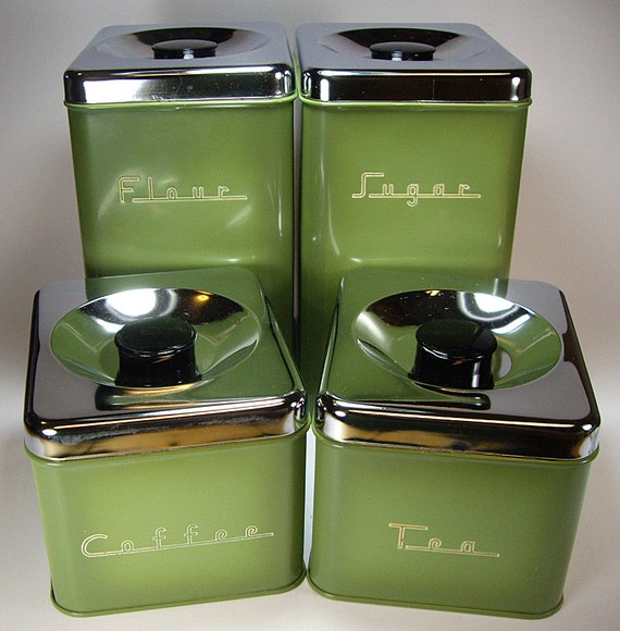 avocado green 70 s metal kitchen canister set by pantry