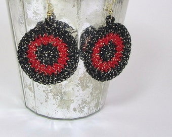Black and Red Circle Earrings Metallic Gold Thread Round Dangle Bulls Eye Jewelry Boho Hippie Fashion Sparkly Accessory Handmade by Lilena