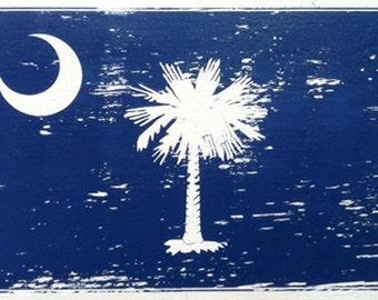 Rustic wood South Carolina Flag 10 x 18