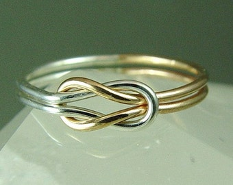 Solid Gold and Sterling Silver Infinity Ring / Solid Rose Gold Knot Ring / Promise Ring / Best Friend Ring / Love Knot Ring / Wedding Sale