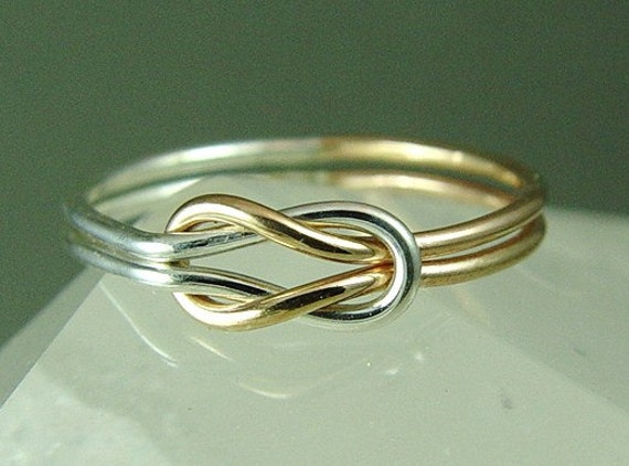 Solid Gold and Sterling Silver Infinity Ring Solid Rose Gold