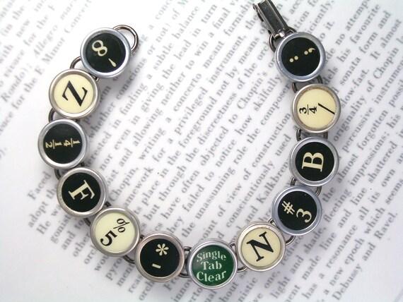 Typewriter Key Bracelet With Random Keys Black White Green - Vintage Typewriter Jewelry From HauteKeys