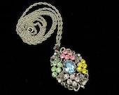 Vintage Rhinestone Necklace, Vintage Necklace, Rhinestone Necklace, Vintage Pendant, Pastel Rhinestones, Blue Rose Green, Silvertone Chain