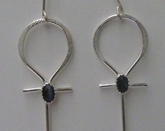 Ankh Earrings Sterling Silver Jewelry Your Choice of Stone Color