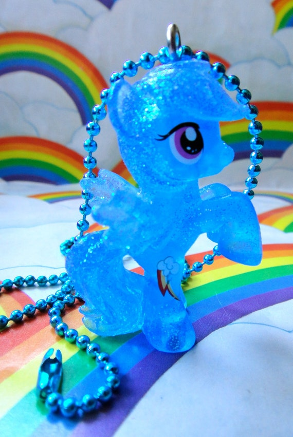 My Little Pony Necklace- Glitter Rainbow Dash