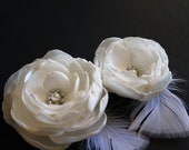 Bridal Flower Fascinator Set of 2 with Pearls Crystals, Bridal  Hair Clip for Wedding