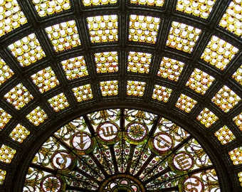 Fine Art Photography, Chicago Photograph Tiffany Stained Glass Dome, Geometric Art, Chicago Architecture - Tiffany