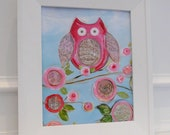 sweet emma bird II, 8x10 posh print, acrylic and collage wall art poster