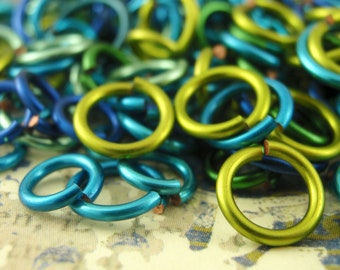 100 BLUE and GREEN Jump Rings - Sample Package - YOU Pick Gauge and Diameter Handmade in a Variety of Hues