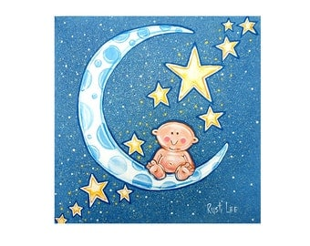 Starry Night and Blue Moon Baby Wall Art 12x12 SWEET DREAMS