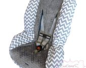 Toddler Car Seat Cover Grey Chevron with Charcoal
