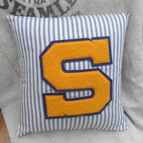 Vintage Varsity Letter Pillow, Varsity Letter S, Mattress Ticking Down Pillow