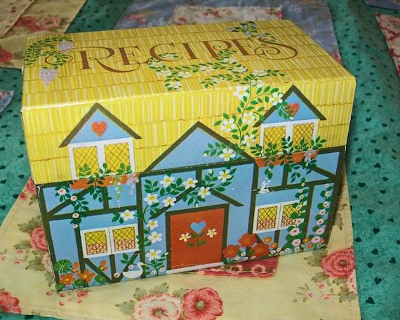 SALE - Vintage metal recipe box, Hallmark, metal, recipe, 1980s, house, painted, storage, metal, tin
