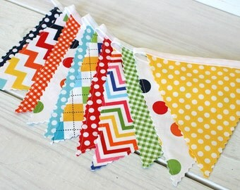 Party Decoration, Birthday Decoration, Colorful, Bunting, Fabric Banner, Flags, Photo Prop - Rainbow Chevron, Dots, Gingham
