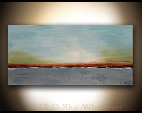 Large Original Minimalist Abstract Painting Landscape Blue Contemporary Modern Art 24x48 by Sky Whitman