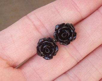 Black Rose Stud Earrings / Resin Flower / Edgy, Dark Romance Jewelry / Gift For Her.