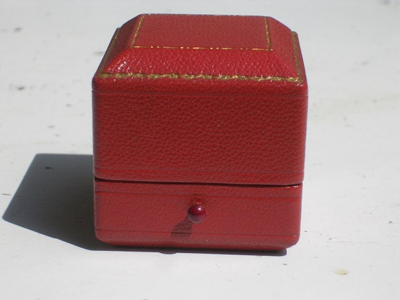 Vintage Red Leather Ring Box