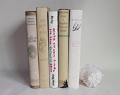 5 Vintage Books In Shades of White Book Bundle - Dust Jackets