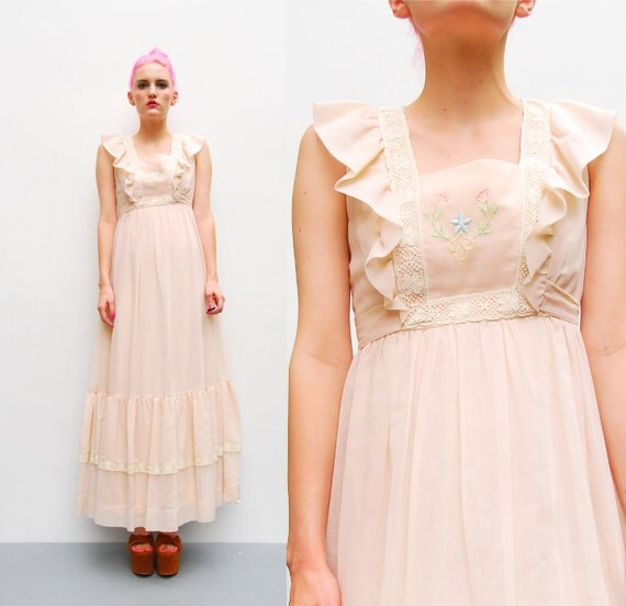 70s Maxi Dress - Pastel Pink Babydoll Dress - 1970s Embroidered Hippie Ruffle Maxi Dress - Boho Festival Dress - XS