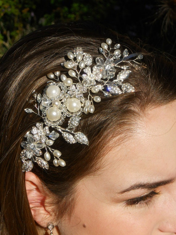 Bridal, headpiece, headband in silver metal with wired glass pearls, crystals, rhinestones and glass beads. FREE GIFT