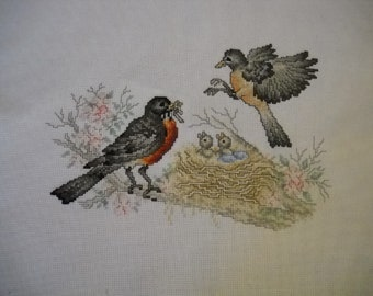"Completed Stoney Creek cross stitch "" Robins """