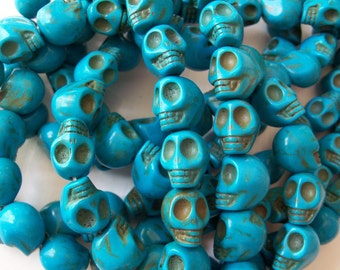 Turquoise Skull Beads 12mm - Lot Of 5