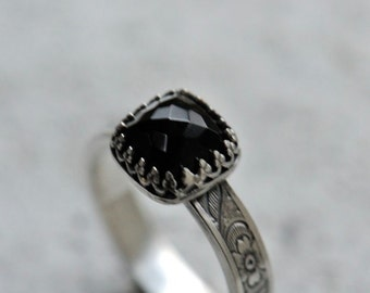 Black onyx ring, sterling silver ring, flower band ring, goth ring, made to order ring