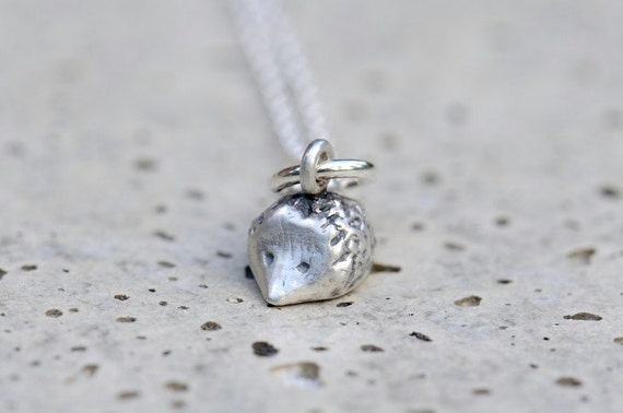 Tiny hedgehog pendant with sterling silver chain. Made to order.