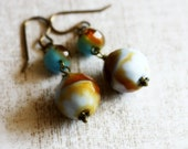 Fall Colors Aqua and Rust Earrings, Czech Glass, Turquoise Orange Amber, Large Dangle, Antique Brass, Ready to Ship