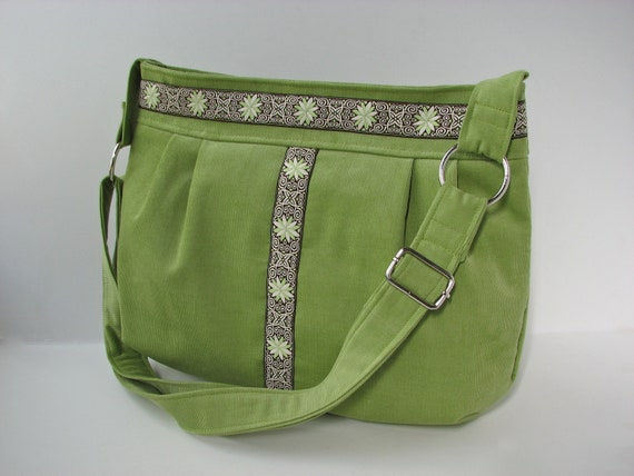 Zippered Pleated Cross Body Bag in Grass Green Corduroy with Jacquard Ribbon accent - ready to ship