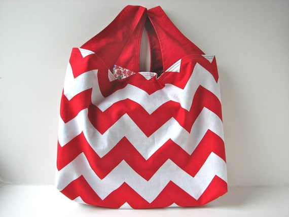 Reversible Reusable Grocery Bag in Red and White Chevron with Red and Blue Floral  - ready to ship