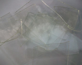 Fused Glass Scrap Glass, 1 Pound Mix of Glass, COE 96, Clear Transparent