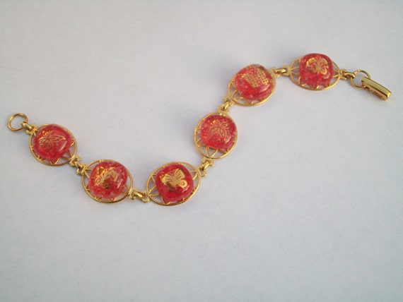 Fused Glass Bracelet, 22 Karat Gold Butterfly's on Red and Clear Glass, Gold Plated Bracelet, SRAJD