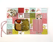 Child gift, placemat in organic fabric. Pocket place mat in red. Woodland pattern.