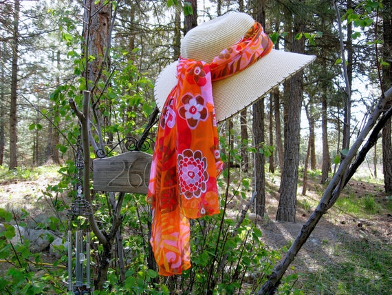 Scarf Shawl Sheer Wrap 1970s Mod Flowers Vintage 70s Material Retro Cover Up