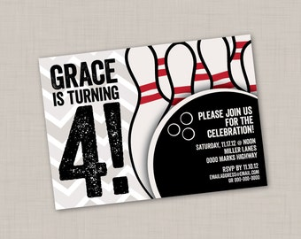 Bowling Birthday Chevron Invitation (2E) -- Print Your Own