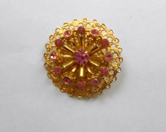 Vintage Pin Pink Rhinestones and Gold Filiigree Sun Busrst Design   Mid Century Modern Mad Men