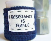 Funny coffee mug cozy tea cup Resistance is Futile star trek navy white black crochet cover