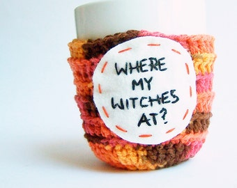 Witch Coffee Mug Cozy Tea Cup orange brown crochet handmade cover