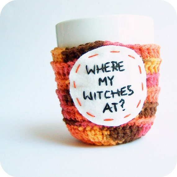Witch Coffee Mug Cozy Tea Cup orange brown crochet handmade cover