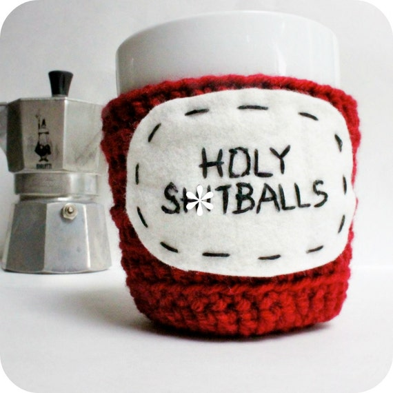 Funny coffee mug cozy tea cup cozy Holy Sh-tballs crochet red handmade cozy cover